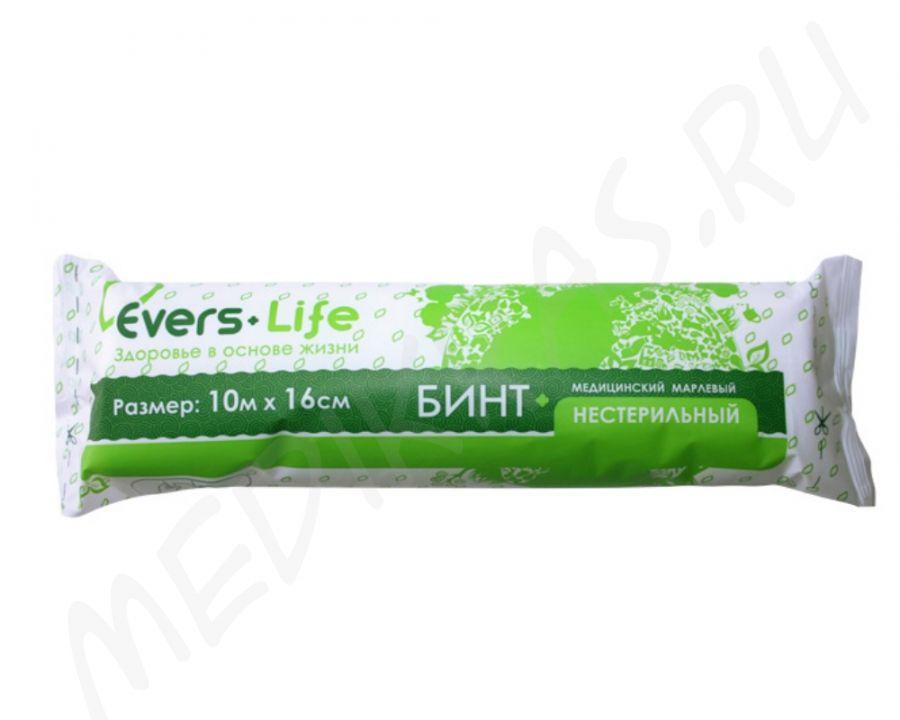 Бинт медицинский марлевый 10мх16см нестерильный в индивидуальной упаковке 28г/м2  Evers Life
