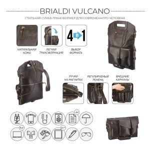 Сумка-трансформер 4-в-1 BRIALDI Vulcano (Вулькано) relief brown