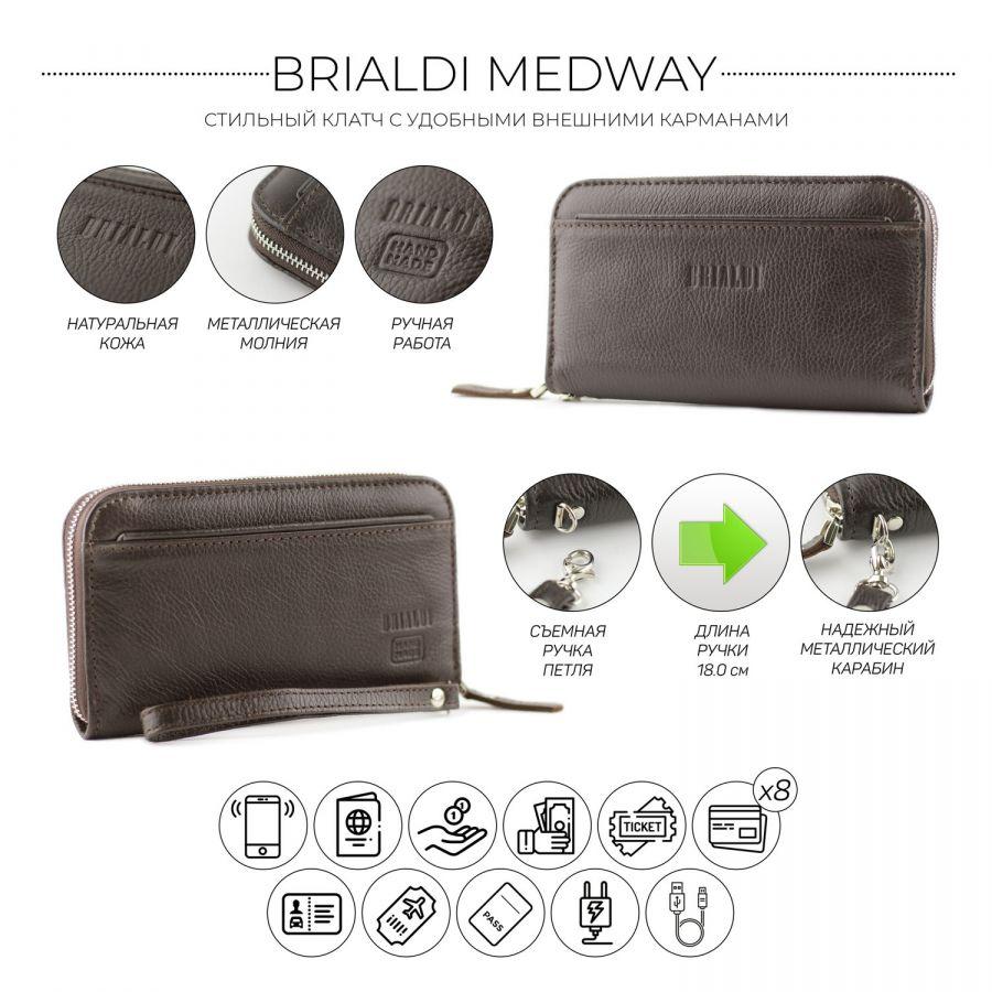 Мужской клатч BRIALDI Medway (Медуэй) relief brown