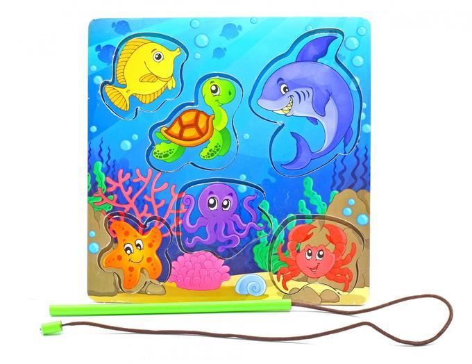 Развивающая игрушка: рамка-вкладка  «Магнитная рыбалка 3»