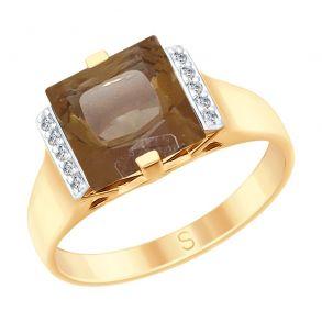 Кольцо из золота с раухтопазом и фианитами 715175 SOKOLOV