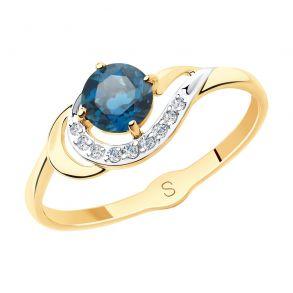 Кольцо из золота с синим топазом и фианитами 715562 SOKOLOV