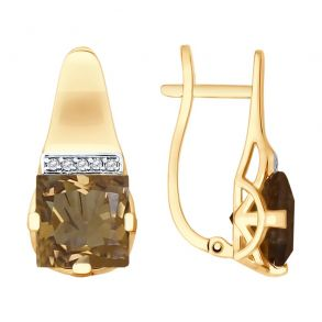 Серьги из золота с раухтопазами и фианитами 725539 SOKOLOV