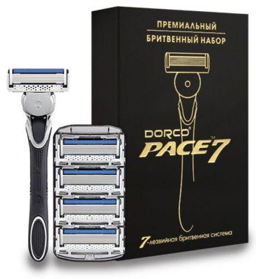 Набор  DORCO  PACE 7 станок + 5 кассет в подарочной упаковке с золотым тиснением
