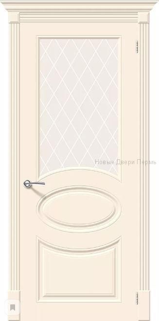 Скинни-21 Cream остекленная Дверь межкомнатная крашенная (Эмаль)