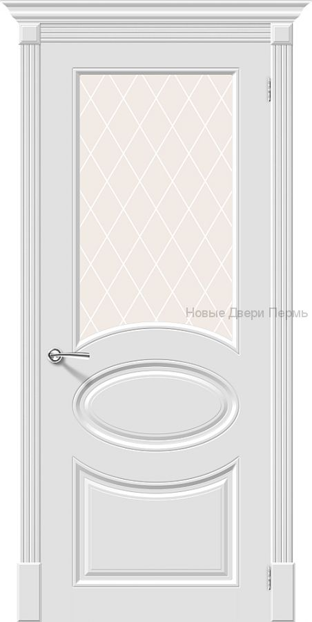 Скинни-21 Whitey остекленная Дверь межкомнатная крашенная (Эмаль)