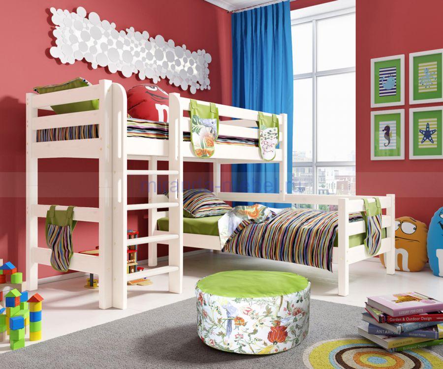 Угловая кровать Соня с прямой лестницей или наклонной лестницей