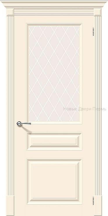 Скинни-15.1 Cream остекленная Дверь межкомнатная крашенная (Эмаль)
