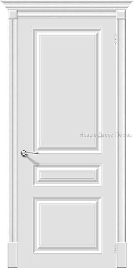 Скинни-14 Whitey без стекла Дверь межкомнатная крашенная (Эмаль)