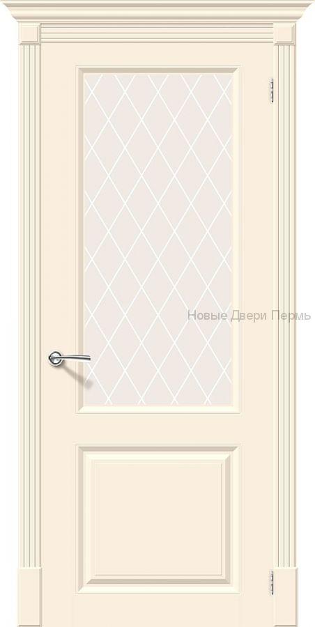 Скинни-13 Cream остекленная Дверь межкомнатная крашенная (Эмаль)