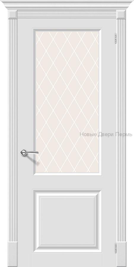 Скинни-13 Whitey остекленная Дверь межкомнатная крашенная (Эмаль)