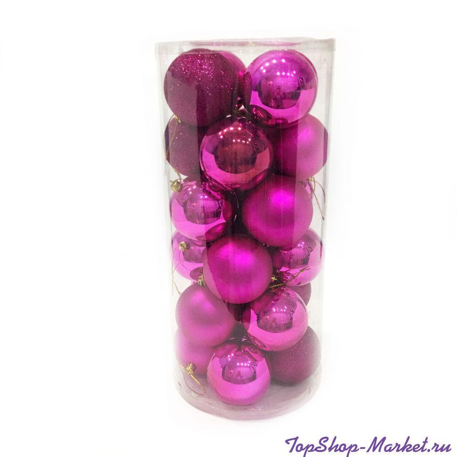 Набор украшений для елки Шары в колбе 7.5 см, 24 шт, Розовый