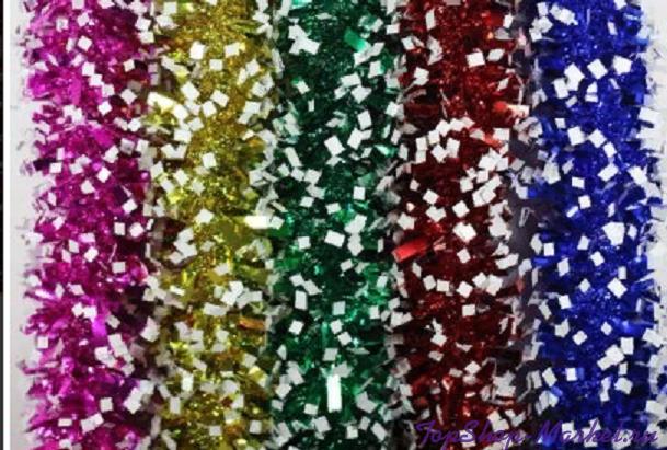 Новогодняя широкая мишура с блестящими кончиками 2 м х 9 см, 6 шт