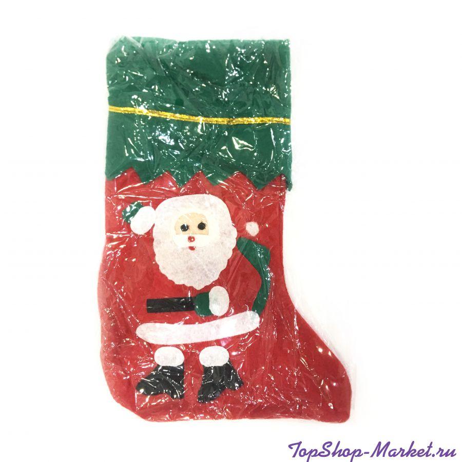 Новогодний носок для подарков, 36х22см, Дед Мороз