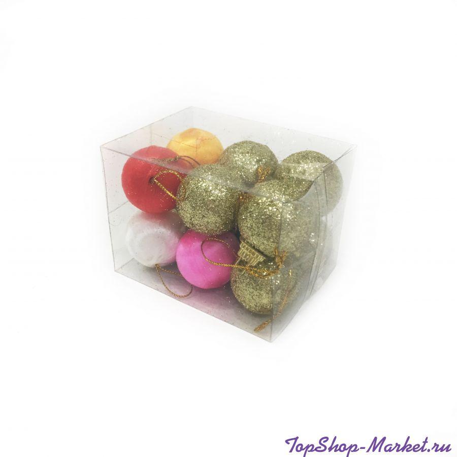 Набор ёлочных украшений Текстильные Шары 3 см, 12 шт
