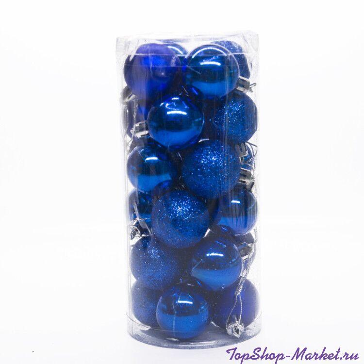 Набор украшений для елки Шары в колбе 7.5 см, 24 шт, Синий