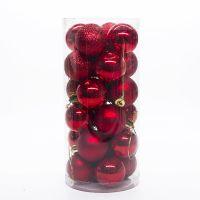 Набор украшений для елки Шары в колбе 7.5 см, 24 шт, Красный
