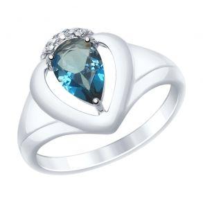 Кольцо из серебра с синим топазом и фианитами 92011470 SOKOLOV
