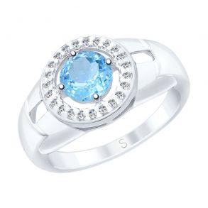 Кольцо из серебра с топазом и фианитами 92011540 SOKOLOV