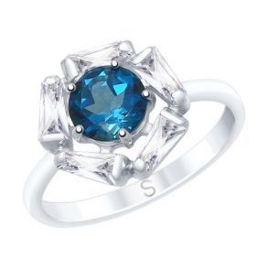 Кольцо из серебра с синим топазом и фианитами 92011685 SOKOLOV