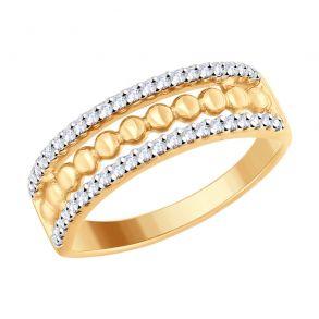 Кольцо из золочёного серебра с фианитами 93010714 SOKOLOV