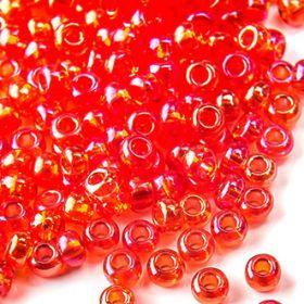 Бисер чешский 91050 прозрачный ярко-красный радужный Preciosa 1 сорт