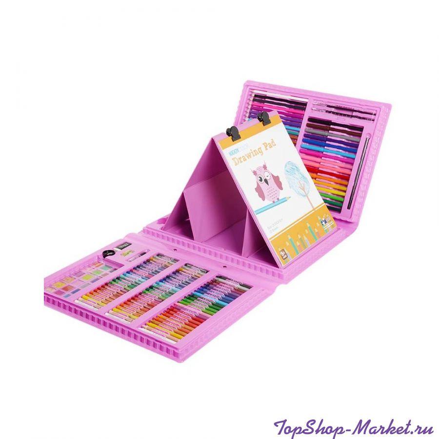 Набор для рисования со складным мольбертом в чемоданчике, 176 Предметов, Цвет: Розовый