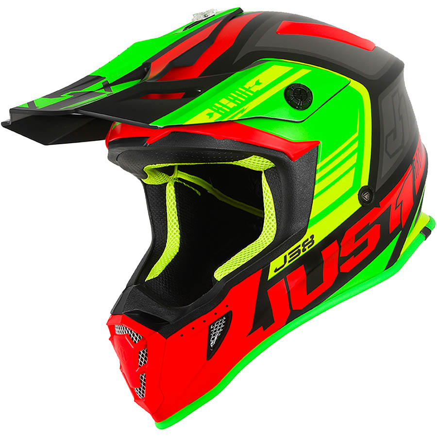 Just1 - J38 Blade Red/Lime/Black Matt шлем, красно-зелено-черный