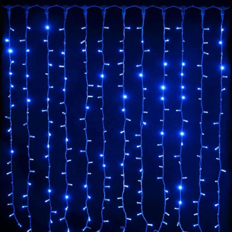 Светодиодная Гирлянда Шторка 200 LED, 2х1.5 м, Цвет Свечения Синий