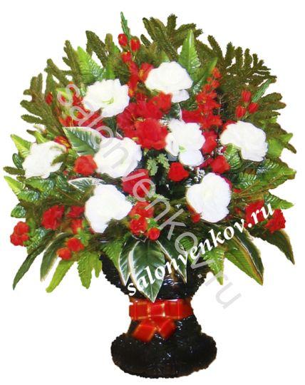 Ритуальная корзина из искусственных цветов N25, РАЗМЕР 60см, 80см,90 см