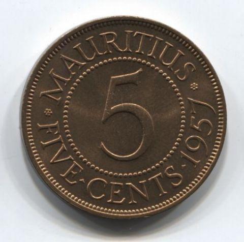 5 центов 1957 года Маврикий UNC