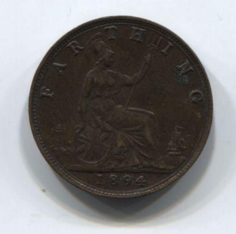 1 фартинг 1894 года Великобритания XF