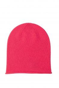 """Кашемировая мягкая классическая тонкая шапка-бини """"Джерси"""",цвет Ярко-розовый . HOT PINK Jersey Hat"""