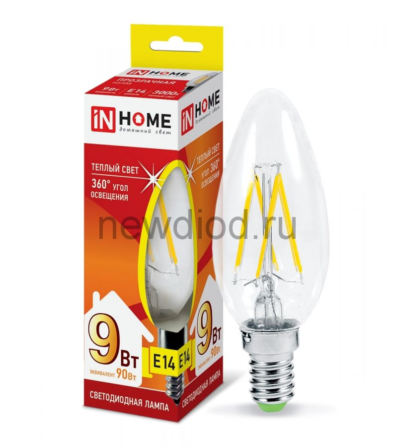 Лампа светодиодная LED-СВЕЧА-deco 9Вт 230В Е14 4000К 810Лм прозрачная IN HOME