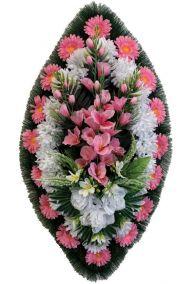 Ритуальный венок из искусственных цветов - Классика #02 розово-белый