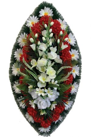 Траурный венок из искусственных цветов - Классика #04
