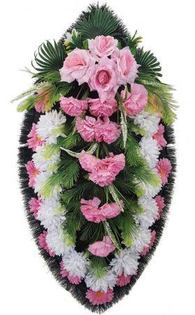 Фото Ритуальный венок из искусственных цветов - Классика #08 розово-белый из хризантем и зелени
