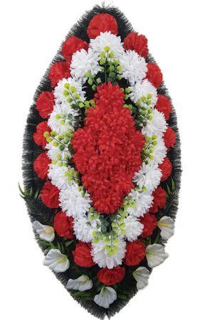 Фото Ритуальный венок из искусственных цветов - Классика #16 красно-белый из гвоздик и лилий
