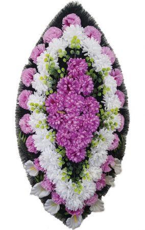 Фото Ритуальный венок из искусственных цветов - Классика #17 фиолетово-белый из гвоздик и лилий