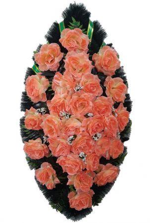 Фото Ритуальный венок из искусственных цветов - Классика #20 светло-оранжевый из роз и зелени