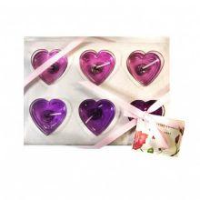 Подарочный набор гелевых свечей Сердца, 6 шт, Цвет: Розовый/Фиолетовый