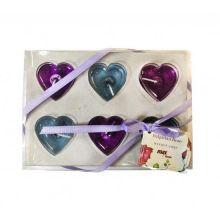Подарочный набор гелевых свечей Сердца, 6 шт, Цвет: Фиолетовый/Голубой