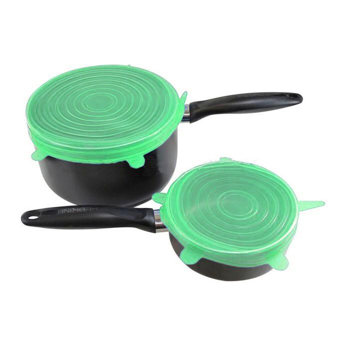 Силиконовые Крышки Silicone Sealing Lids, 6 шт, Цвет Зеленый