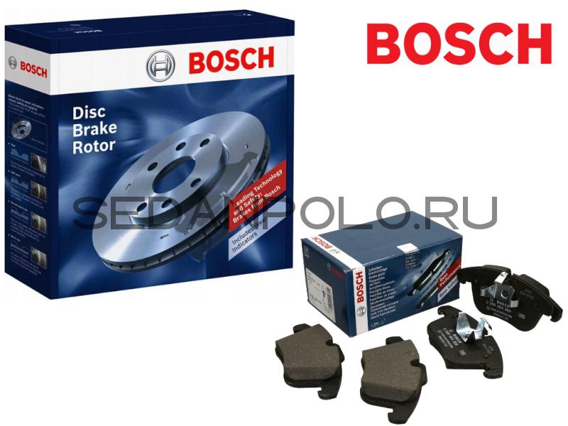 Диски+Колодки тормозные передние BOSCH (110 л.с CWVA / 125 л.с CZCA)
