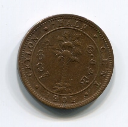 1/2 цента 1901 года Цейлон