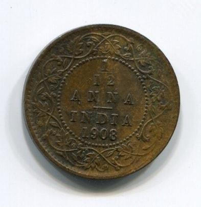 1/12 анны 1908 года Индия