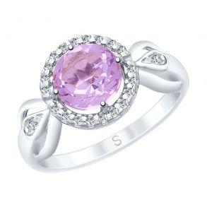 Кольцо из серебра с аметистом и фианитами 92011676 SOKOLOV