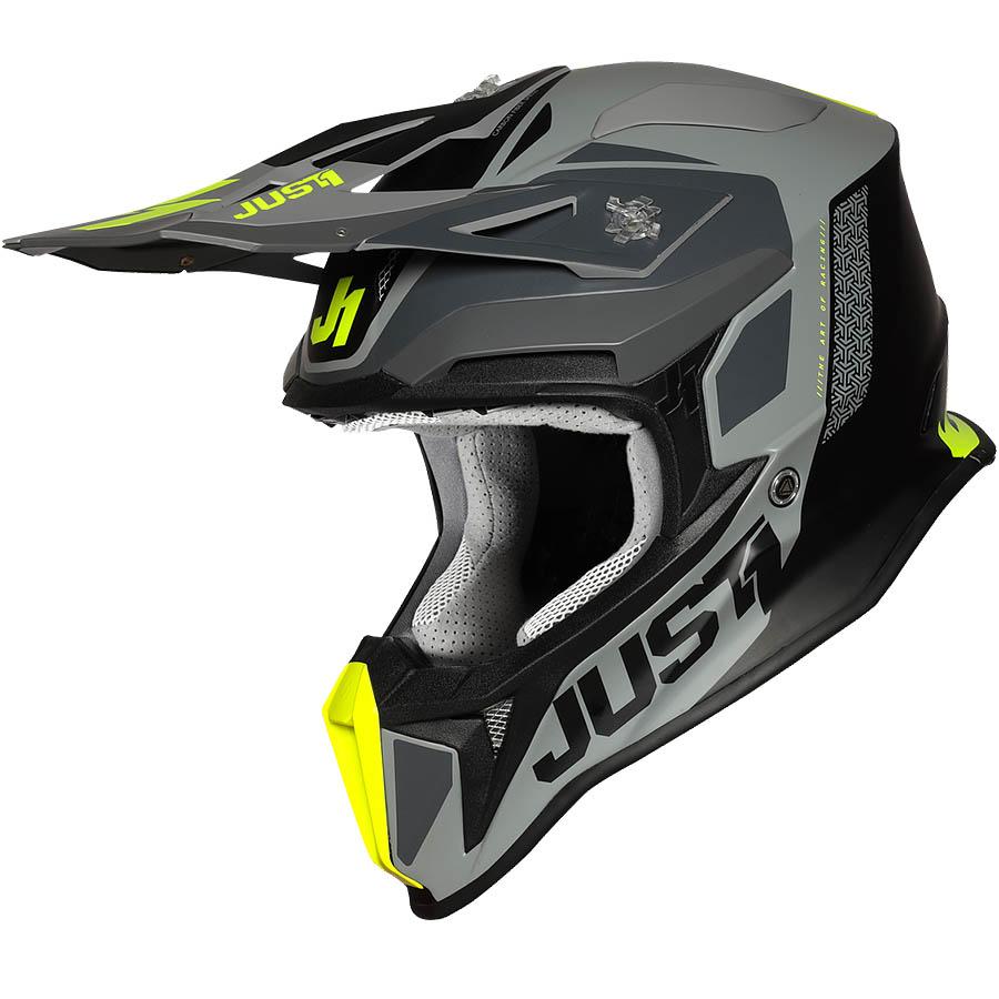 Just1 - J18 Pulsar Flue Yellow/Grey/Black Matt шлем, желто-серо-черный матовый