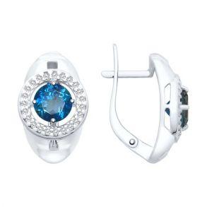Серьги из серебра с синими топазами и фианитами 92021724 SOKOLOV