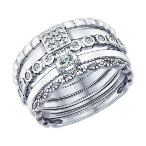 Наборное кольцо из серебра 94011707 SOKOLOV